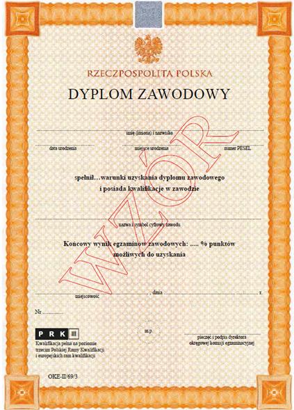 dyplom zawodowy